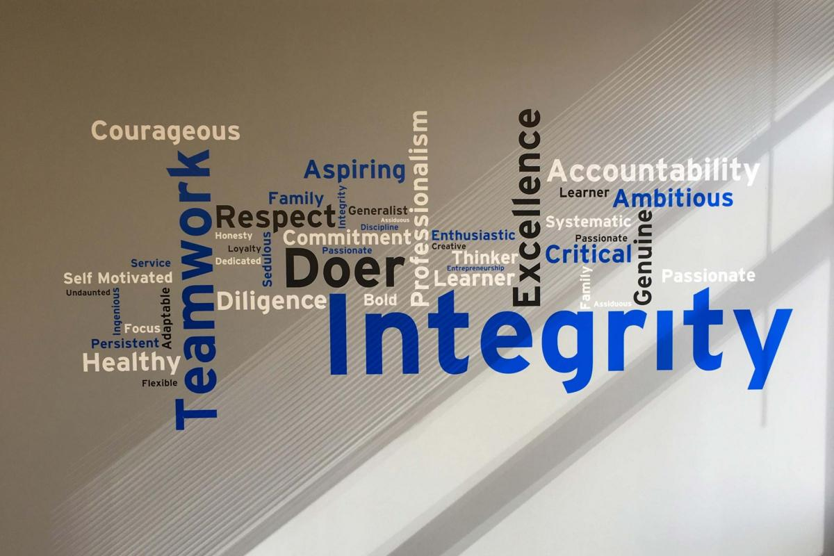 Word cloud on display at the KDM office, showcasing values important to the KDM team.
